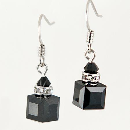 EA483BK: Swarovski Black Crystal Dangle Earrings