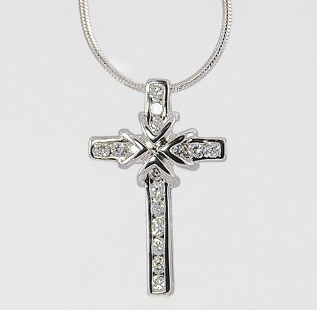 NA148: Silver Cross Pendant with CZs