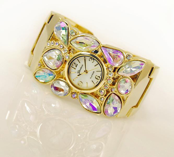 WA87: Elegant Crystal Cuff / Bangle Watch (in Gold or Silver)