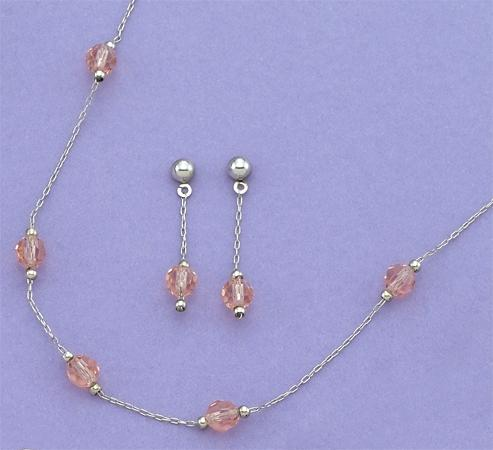 SNT93P: Pink (or Amethyst) Austrian Earrings & Necklace Set