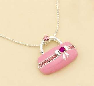 NA122P: Pink Purse Necklace with Austrian Crystal and Chain