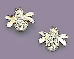 EA237S: Bee Earrings with Crystals in Silver