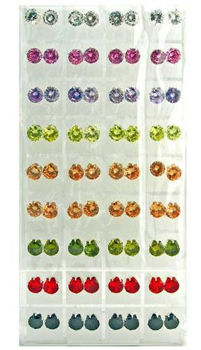 EA212PR: 36 Pair of Austrian Crystal Earrings + Display