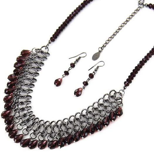 SN299: Prurple Mesh Necklace and Earring Set