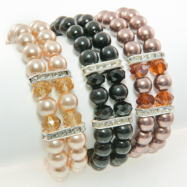 BR243: Crystal Double-Strand Pearl Bracelet