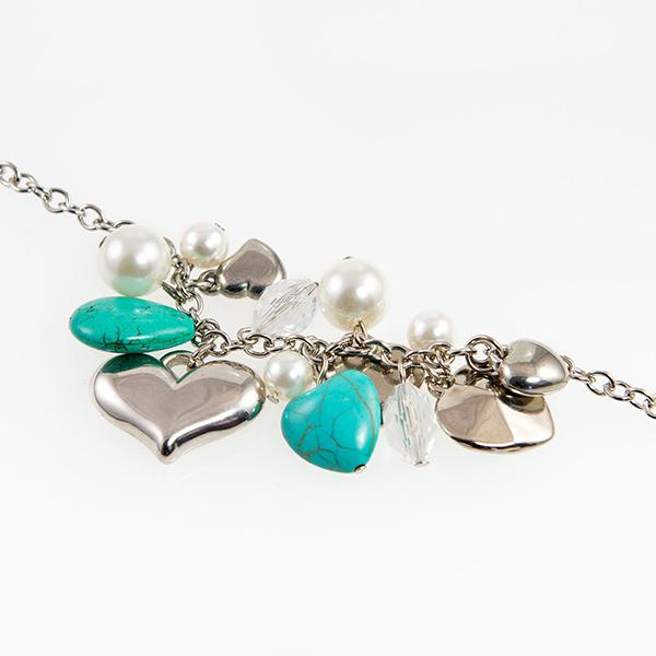 BR362: Turquoise and Silver Charm Bracelet
