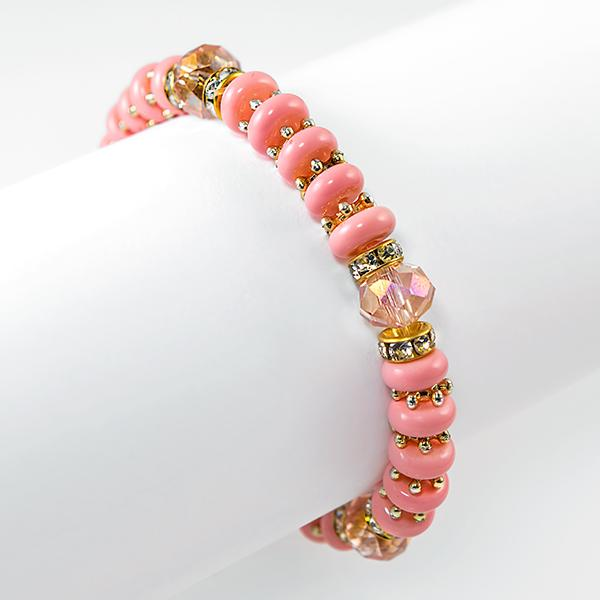 BR507: Salmon Colored Stretch Bracelet