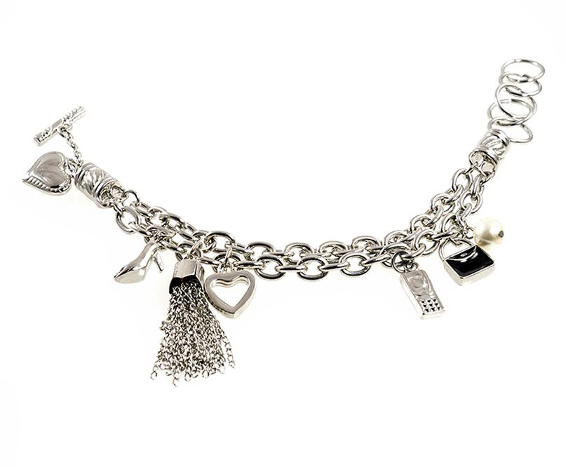 BR515: Silver Charm Bracelet with Charms