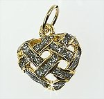 CH253: Golden Heart Charm with Diamond Dust