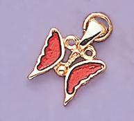 CH43: Red Enamel Butterfly Charm in Gold