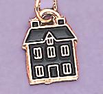 CH72: Black Enamel House Charm in Gold or Silver