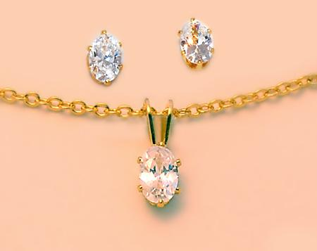 CL05: CZ Earring & Necklace Set, Closeout Buy