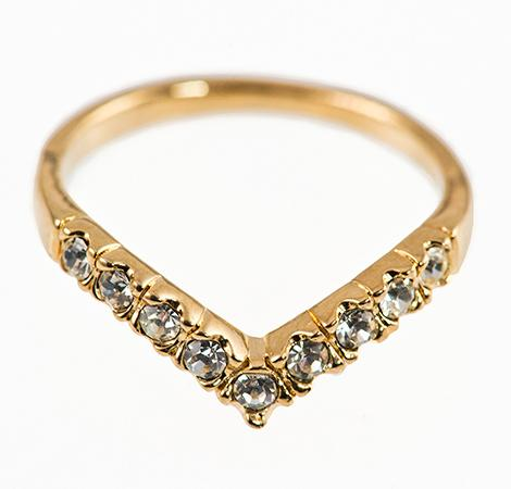 CL163: Gold and CZ Ring