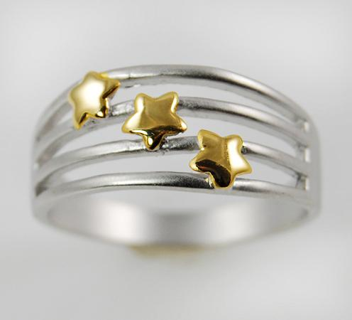 CL44: Triple Star 2-Tone Ring