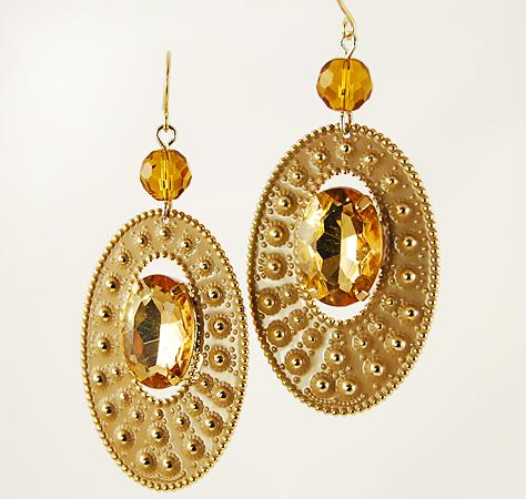 EA487: Enamel & Topaz Crystal Earrings