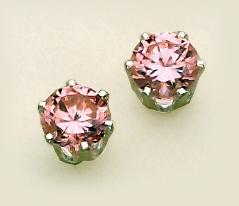 EA110PK: Pink CZ Silver Post Earrings