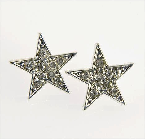 EA139S: Silver Austrian Crystal Star Earrings