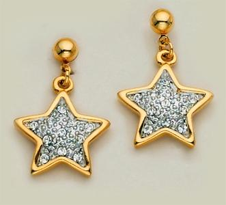EA206: Crystal Dangle Star Earrings