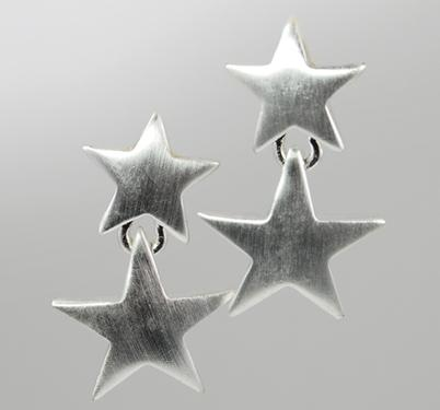 EA305: Double Star Dangle Earrings in Silver or Gold