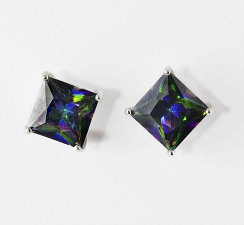 EA310BK: Black AB Multi-Facetted Earrings