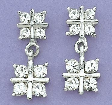 EA382C: Austrian Clear Crystal & Silver Earrings
