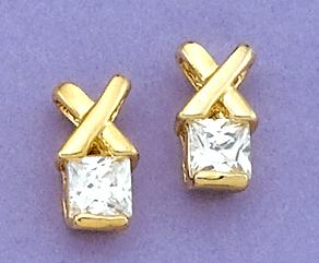 EA413: Extreme Emerald-Cut Earrings in Gold or Silver
