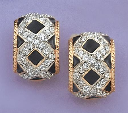 EA417: Black Enamel & Austrian Crystal Earrings