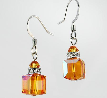 EA483T: Swarovski Crystal Topaz Earrings