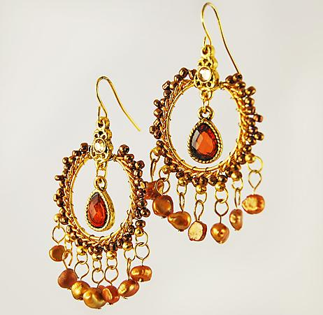 EA485: Dark Topaz Exotic Crystsal & Pearl Beaded Earrings
