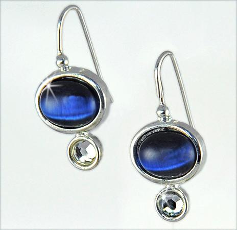 EA521: Dark Blue Moonstone Earrings