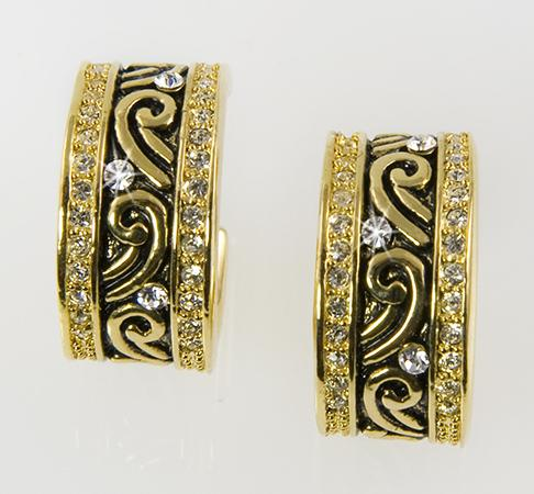 EA532: Black Enamel & Gold Hoop Earrings
