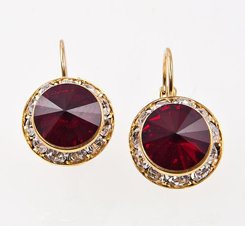 EA560RFG: Red Dangel Swarovski Crystal Gold Earrings