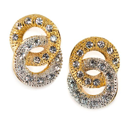 EA615: Two Tone Crystal Earrings