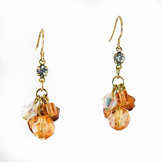 EA634: Golden Crystal Earrings Four Colors