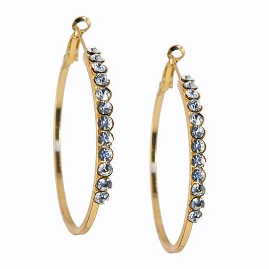 EA678: Silver or Gold Crystal Hoops