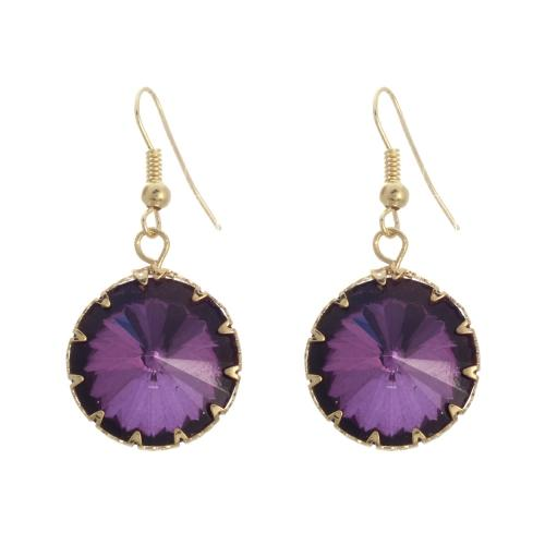 EA684: Multi Faceted Amethyst Earrings