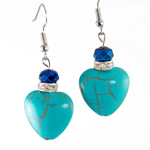 EA702: Turquoise Heart Earrings