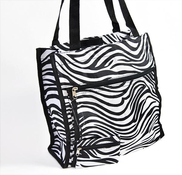 LL013Z: Zebra Shoulder Tote Bag (Available also in Fushia & Black)