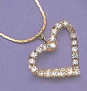 NA07C: Double Row Crystal Heart Necklace