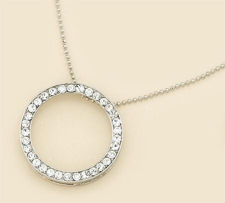 NA120:Tiffany Style Crystal Circle Necklace