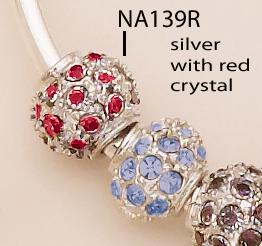 NA139R: Red, Blue, or Black Crystal & Silver Fireball