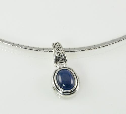 NA196: Blue Moonstone Pendant on Omega Chain