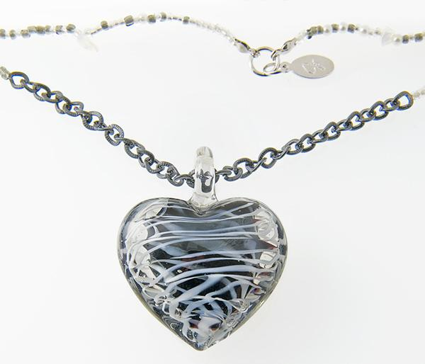 NA209: Black & White Murano Glass Heart Necklace