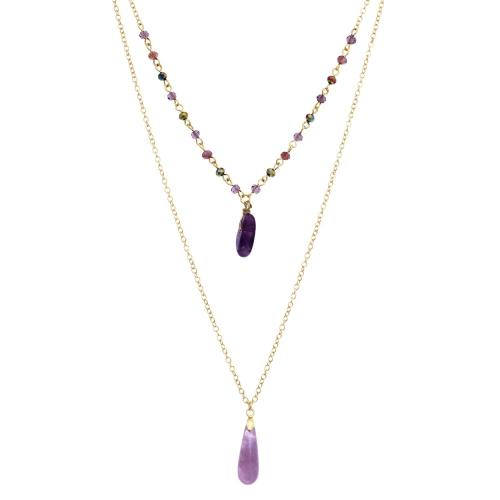 NA310: Double Strand Amethyst Necklace