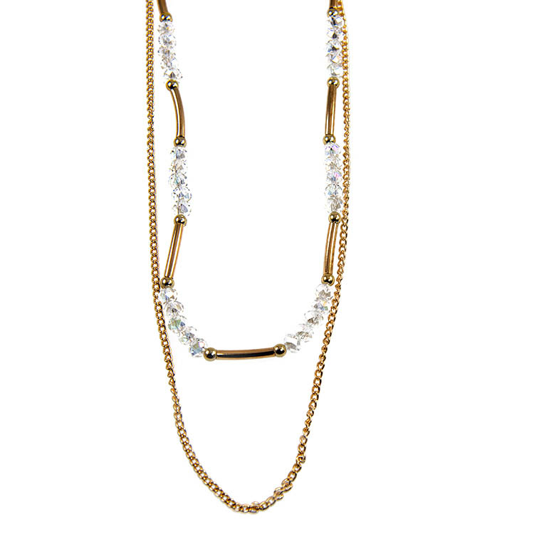 NA318: Multi Strand Gold and Crystal Necklace