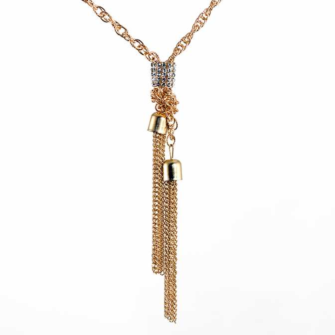 NA343: Gold or Silver Crystal Tassel Necklace