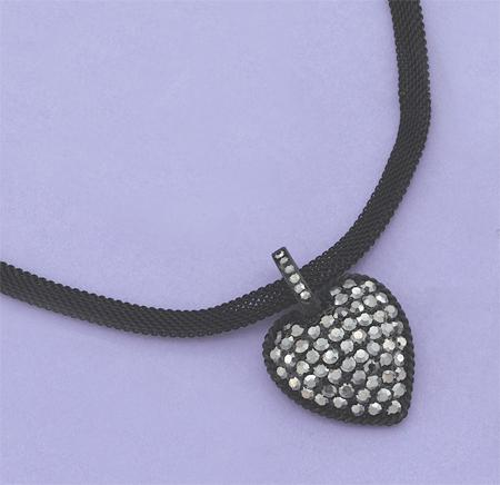 NA82BK: Crystal Heart Necklace