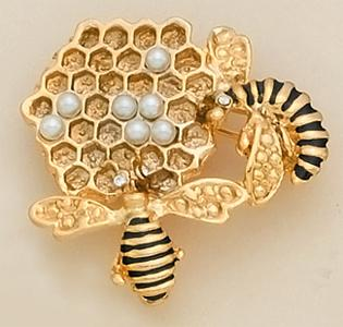 PA02: Beehive Add A Pearl Pin in Gold or Silver
