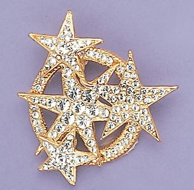 PA154: Crystal Circle of Stars Pin