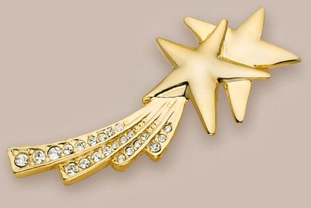 PA215: Double Shooting Stars Pin with Austrian Crystals